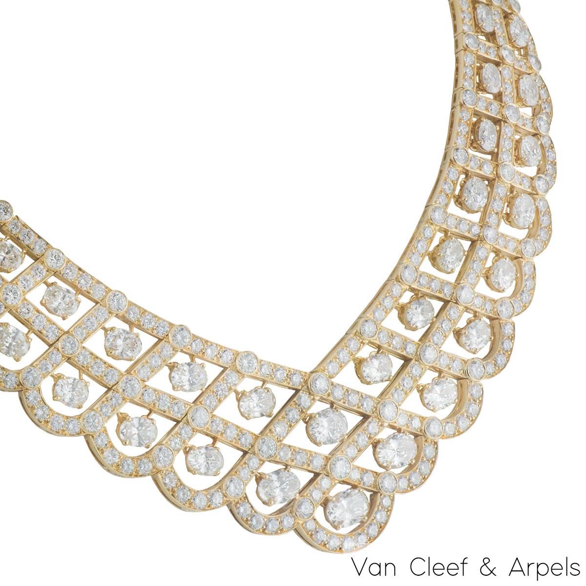 Van Cleef & Arpels Yellow Gold Diamond Vintage Bogota Necklace 57.40ct F-G/VS-VVS